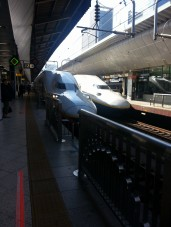 shinkansen trains lined up